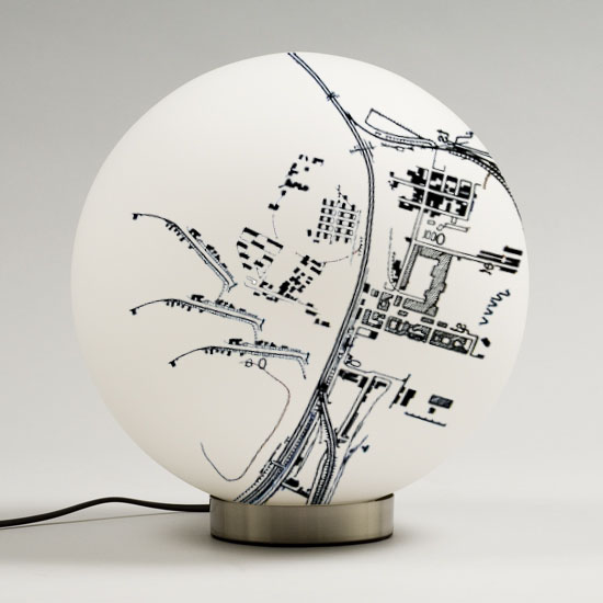 graphic design, imaginary map on a lampe by Adèle Houssin